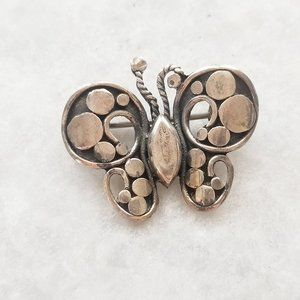 Jewelry - Vintage 925 Silver Circle Dot Butterfly Brooch